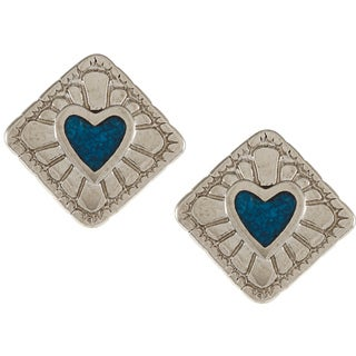Southwest Moon Silvertone Turquoise Inlay Diamond-shaped Heart Earrings