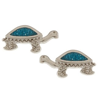 Southwest Moon Silvertone Turquoise Inlay Turtle Post Earrings