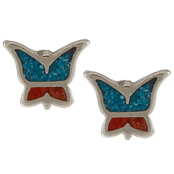 Southwest Moon Silvertone Turquoise and Synthetic Coral Butterfly Earrings