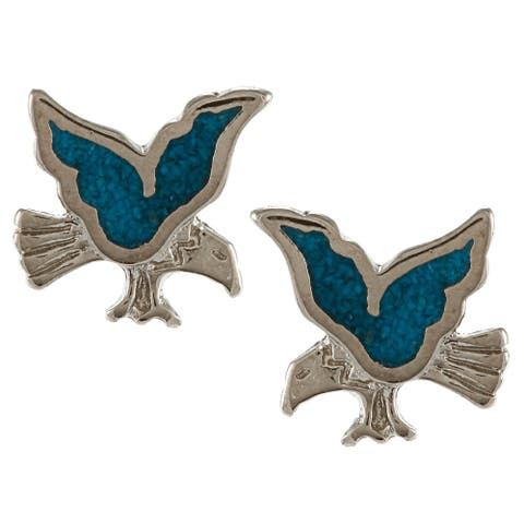 Southwest Moon Silvertone Turquoise Inlay Eagle Post Earrings