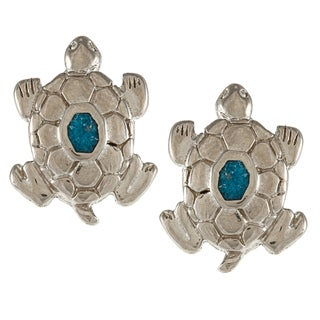 Southwest Moon Silvertone Turquoise Inlay Large Turtle Post Earrings