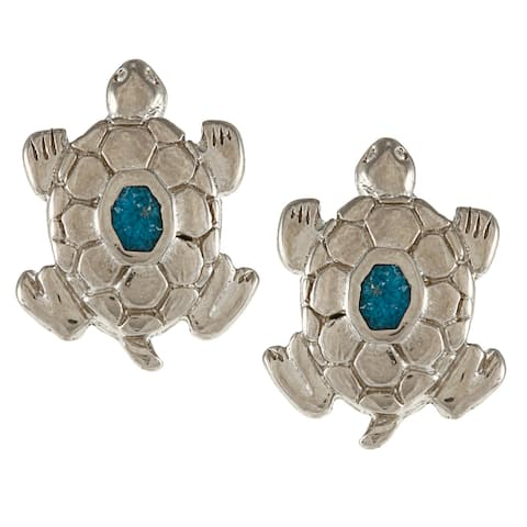 Southwest Moon Silvertone Turquoise Inlay Large Turtle Post Earrings - Blue