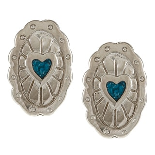 Southwest Moon Silvertone Turquoise Inlay Concho Heart Post Earrings