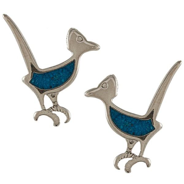 Southwest Moon Silvertone Turquoise Inlay Roadrunner Post Earrings