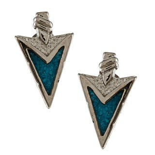 Southwest Moon Silvertone Turquoise Inlay Arrowhead Post Earrings