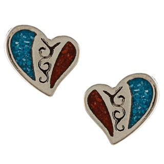 Southwest Moon Silvertone Turquoise and Synthetic Coral Heart Earrings