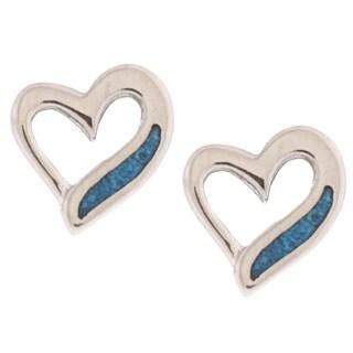Southwest Moon Swirl Heart Turquoise Inlay Post Earrings