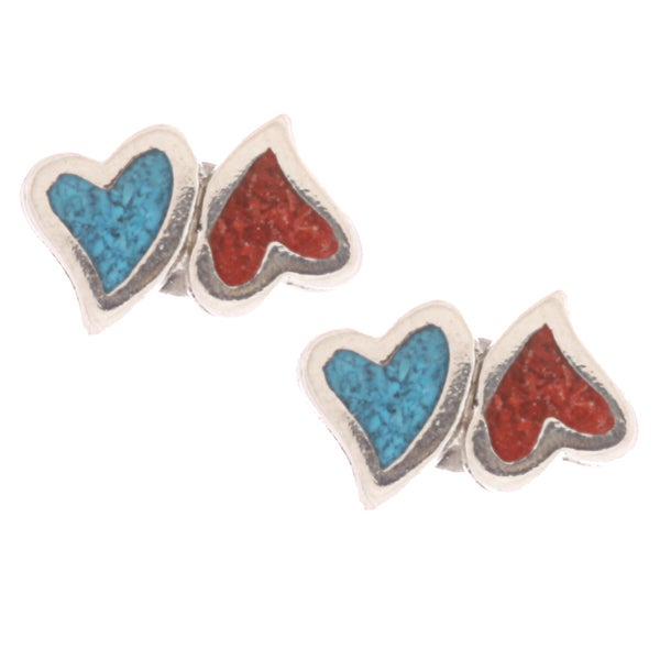 Southwest Moon Double Hearts Turquoise and Coral Inlay Post Earrings