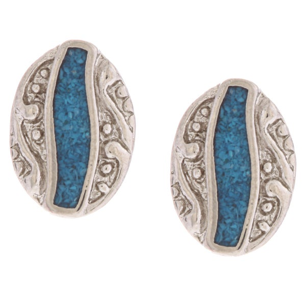 Southwest Moon Ornate Oval Turquoise Inlay Post Earrings