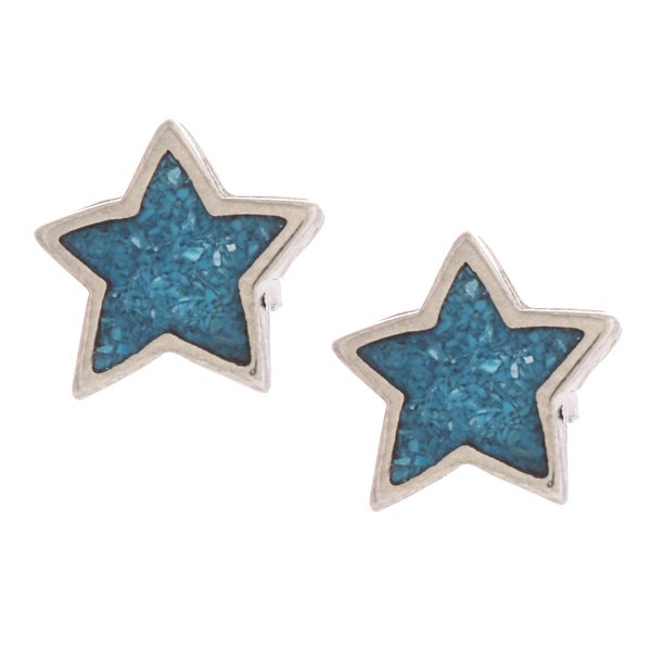 Southwest Moon Star Turquoise Inlay Post Earrings