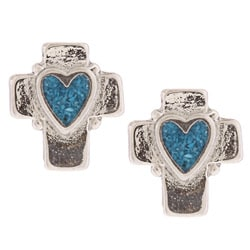 Southwest Moon Heart Turquoise Inlay Cross Post Earrings