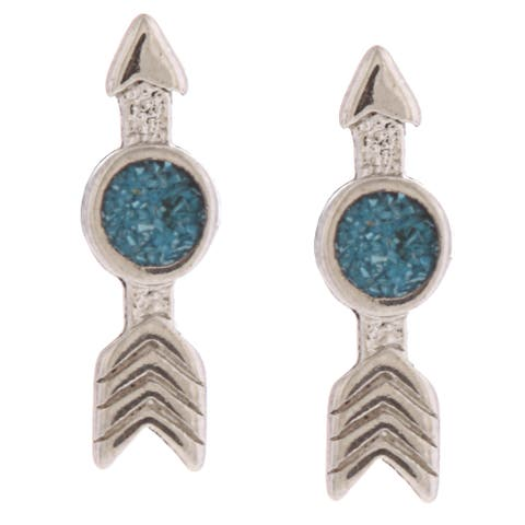 Southwest Moon Arrow Turquoise Inlay Post Earrings