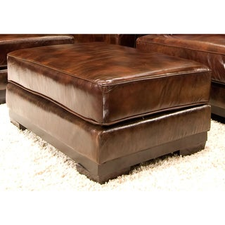 Elements Fine Home Furnishings Emerson Top Grain Leather Ottoman