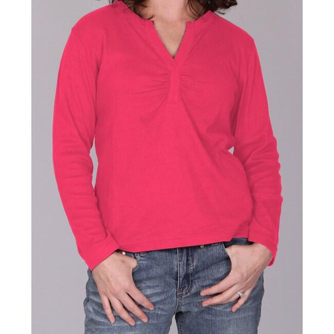 Pink Dickies Ladies Split 'V' Long Sleeve Top