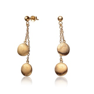 Collette Z Gold over Silver Dangling Circle Chain Earrings