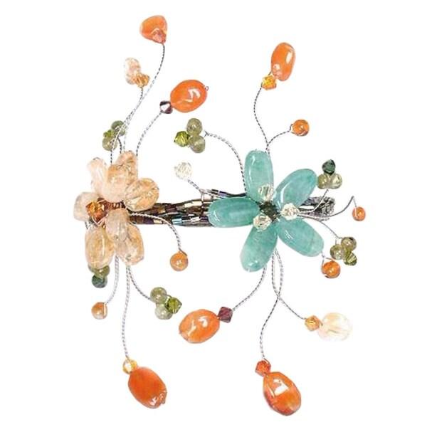 Handmade Stainless Steel 'Blossoming Web' Multi-gemstone Bracelet (Thailand). Opens flyout.