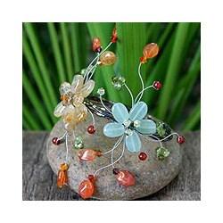 Stainless Steel 'Blossoming Web' Multi-gemstone Bracelet (Thailand)