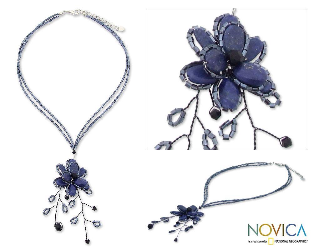 Handmade Stainless Steel 'Blue Camellia' Lapis Lazuli Necklace (Thailand)