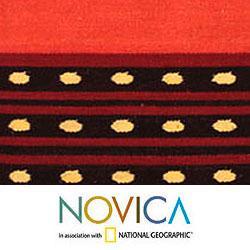 Handmade Wool 'Field at Sunset' Cushion Cover (Peru)