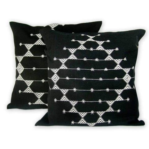 Handmade Starlit Galaxy Set of 2 Cotton Cushion Covers (India)