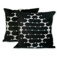 Set of 2 Cotton 'Starlit Galaxy' Cushion Covers  , Handmade in India