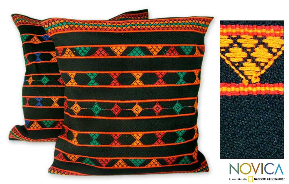 Set of 2 Cotton 'Summer Jazz' Cushion Covers   , Handmade in India