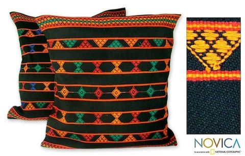 Set of 2 Cotton 'Summer Jazz' Cushion Covers (India)