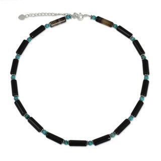 Handmade Sterling Silver 'Sky Song' Onyx Choker (Thailand)