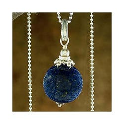 Handmade Sterling Silver 'Blue Universe' Lapis Lazuli Necklace (India)|https://ak1.ostkcdn.com/images/products/7030253/Sterling-Silver-Blue-Universe-Lapis-Lazuli-Necklace-India-P14534393c.jpg?impolicy=medium