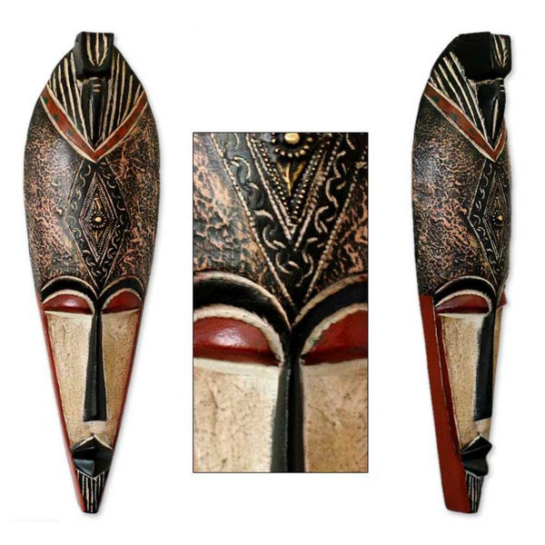 Sese Wood 'Spirit World Protection' Ghanaian African Mask (Ghana)