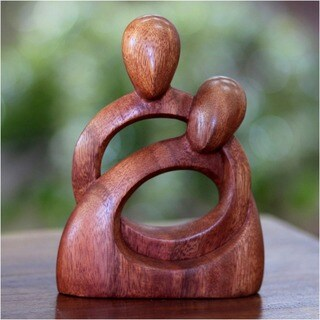 Eternity of Love Wedding Valentine or Year Round Romantic Couple Decorator Accent Brown Suar Wood Art Work Sculpture (Indonesia)