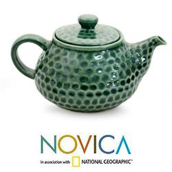 Handmade Ceramic 'Rainforest' Teapot (Indonesia)