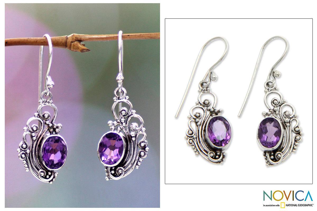 Sterling Silver 'Balinese Breezes' Amethyst Earrings (Indonesia)
