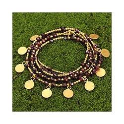 Handmade Gold Overlay 'Deva Dancer' Garnet Wrap Bracelet (Thailand)