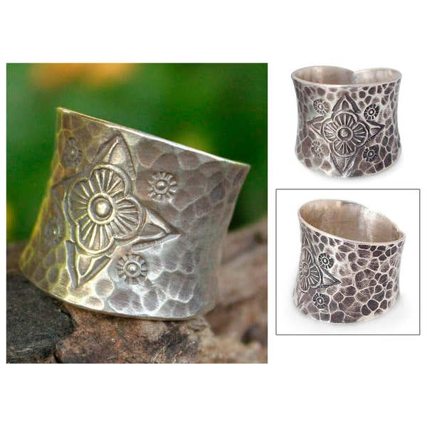 Handmade Sterling Silver 'Flower Compass' Ring (Thailand)
