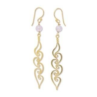 Handmade Gold Overlay 'Transcendence' Rose Quartz Floral Earrings (Thailand)