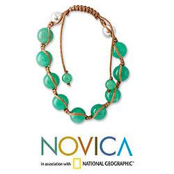 Handmade Sterling Silver Meditate Green Gemstone Jade Beaded Bracelet (India) - Thumbnail 1