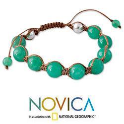 Handmade Sterling Silver Meditate Green Gemstone Jade Beaded Bracelet (India) - Thumbnail 2