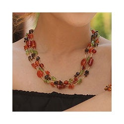 Handmade Multi-gemstone 'Exciting Times' Beaded Necklace (Thailand)