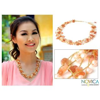 Handmade Aventurine 'Afternoon Glow' Pearl Necklace (Thailand)