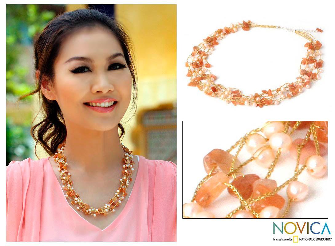 Handmade Aventurine 'Afternoon Glow' Pearl Necklace (Thailand)