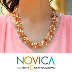 Handmade Aventurine 'Afternoon Glow' Pearl Necklace (Thailand) - Thumbnail 1