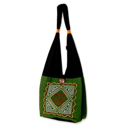 Handmade Cotton 'Jade Secrets' Medium Shoulder Bag (Thailand)