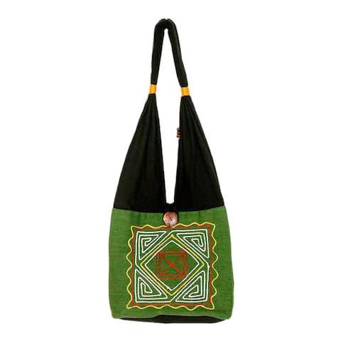 Handmade Jade Secrets Medium Shoulder Bag (Thailand)