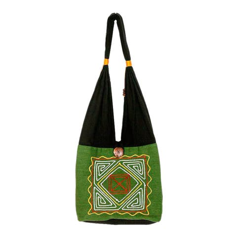 Cotton 'Jade Secrets' Medium Shoulder Bag