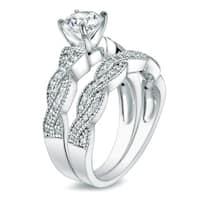 Auriya 14k Gold 1ct TDW Twisted Vintage Inspired Round Diamond Engagement Ring Set