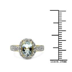 Malaika Gold over Silver 1 1/2ct TGW Aquamarine and White Topaz Ring