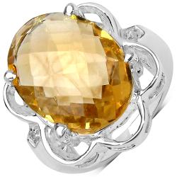 Malaika Sterling Silver 10 2/5ct TGW Citrine and White Topaz Ring
