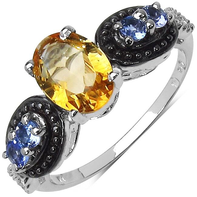 Malaika Sterling Silver Citrine and Tanzanite Ring
