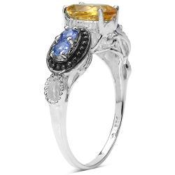 Malaika Sterling Silver Citrine and Tanzanite Ring - Thumbnail 1